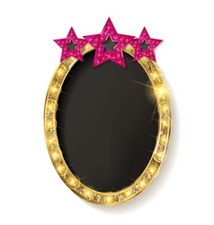 Red vintage frame with three stars vector