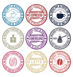 coffee stamp set vector image
