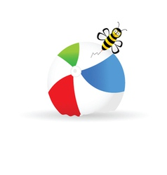 beach ball with bee color vector image