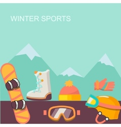 Winter background mountains and snowboard vector