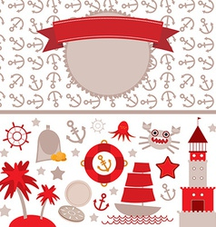 Cute sea objects collection vintage scrap nautical vector