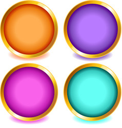 Colorful buttons with gold bevel-set2 vector