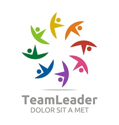 Logo teamleader guidance human colorful design vector