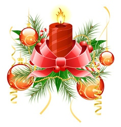 christmas background with candle and decoration fo vector image