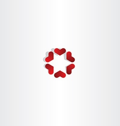 Red hearts in circle sign icon love vector