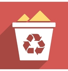 Full recycle bin flat long shadow square icon vector