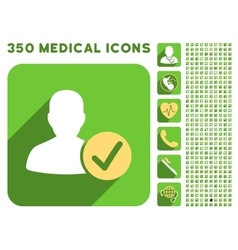 Valid user icon and medical longshadow icon set vector