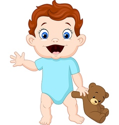 Cute baby holding a teddy bear vector