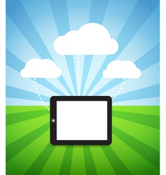 Modern gadget with media clouds vector