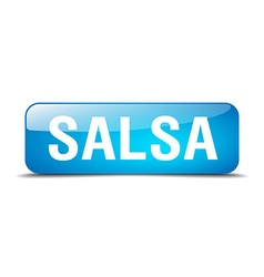 Salsa blue square 3d realistic isolated web button vector