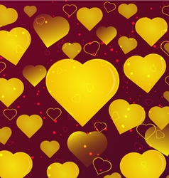 Background gold hearts vector