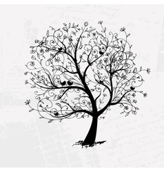 Art tree beautiful black silhouette vector image vector image