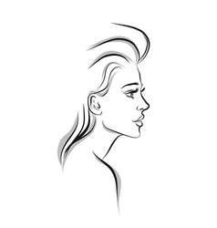 beautiful woman line art vector image vector image