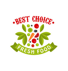 best choice fresh food badge for healthy food vector image vector image