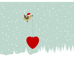 bird bearing christmas heart vector image vector image