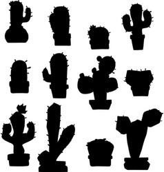 cactus slihouette vector image