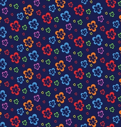 Colorful abstract flowers dark seamless pattern vector