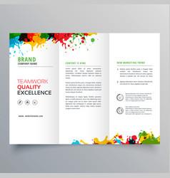 Colorful ink splatter trifold brochure design vector