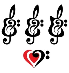 Different guitars violin treble clef vektor set vector