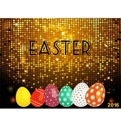 Easter golden tiles background with eggs vector image vector image
