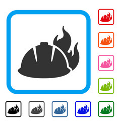 fire helmet framed icon vector image