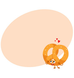 Funny soft and crispy german pretzel character vector