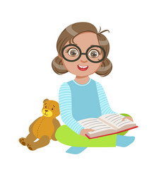 Girl in glasses with teddy bear reading a book vector