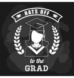 Graduation cap and girl icon University design vector image vector image
