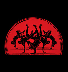 Group of people dancing dancer action vector