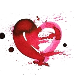 Hand-drawn watercolour red heart with splatter vector image