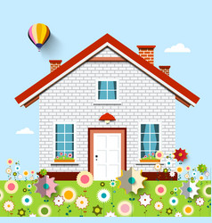 house on garden full of flowers vector image