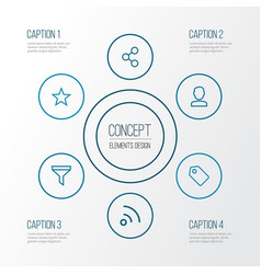 interface outline icons set collection of share vector image vector image