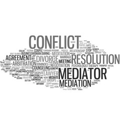Mediator word cloud concept vector