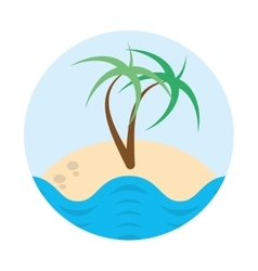 Palm tree sand beach island badge vector
