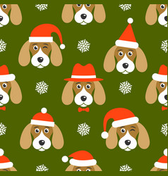Pattern with dogs with santa hats vector