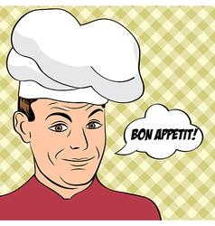 Pop art man in cooker uniform vector