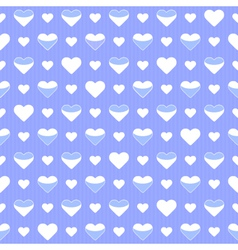Seamless pattern cute white hearts on a blue vector image vector image