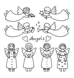 Set of different icons of angels vector