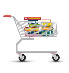 Shopping cart with books e-book store symbol vector