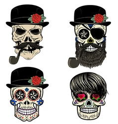 Skull with beard and smoking pipe vector image vector image