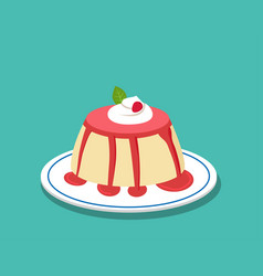 Strawberry pudding on white plate vector
