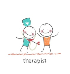 Therapist listens to a stethoscope patient vector