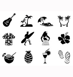 Tropical island and beach vacation icons set vector