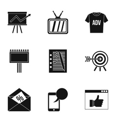 Types of advertising icons set simple style vector