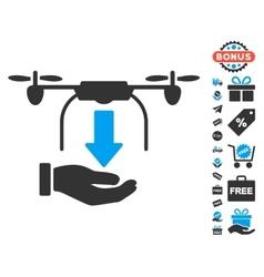 Unload drone hand icon with free bonus vector
