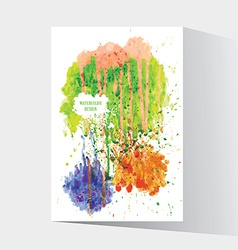 Watercolor splash blot with drops and splatter vector image