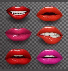 Woman lips stylish slightly open mouth isolated 3d vector