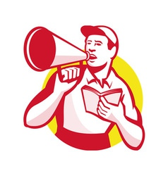 Worker with book and bullhorn retro vector