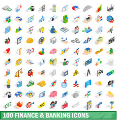100 finance and banking icons set isometric style vector image vector image