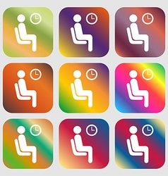 Waiting icon nine buttons with bright gradients vector